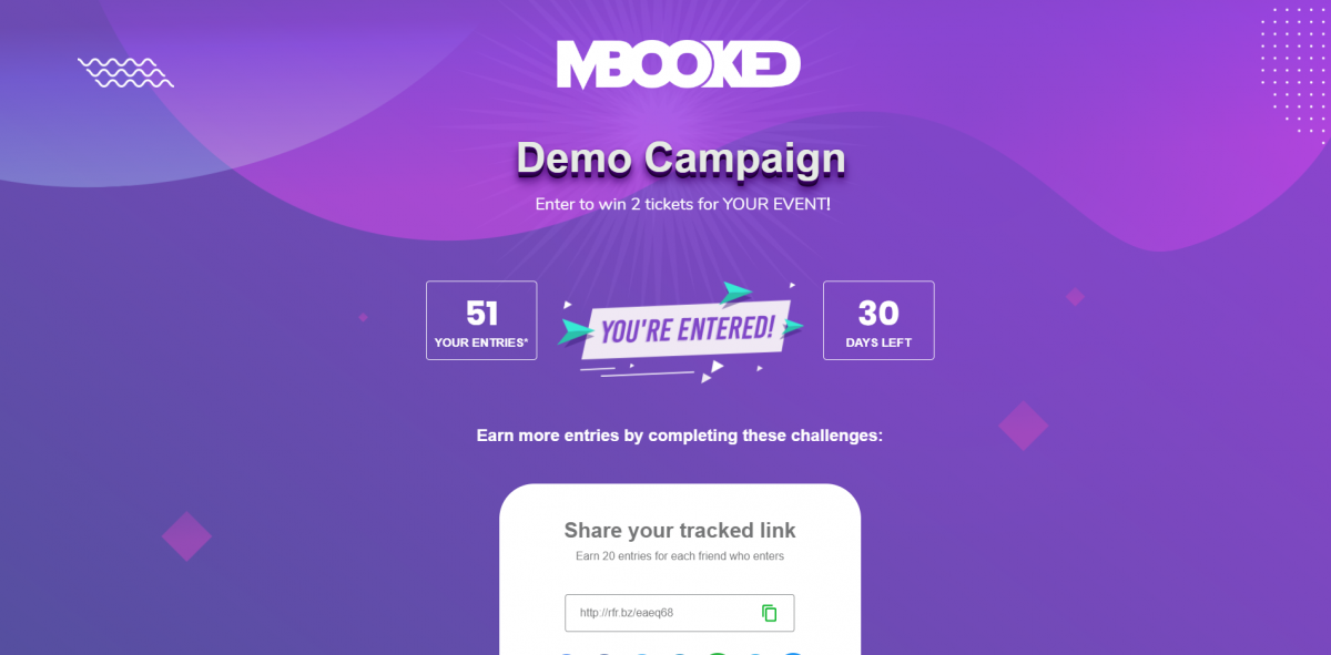 mBooked.com, Demo Campaign Event, Dublin, Demo Account